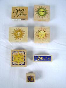 Ensemble De 7 Papeterie Caoutchouc Timbres Soleil, Lune, & Stars