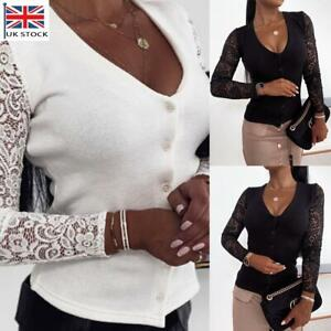 Sexy Women V-Neck Shirt Tops Ladies Lace Long Sleeve Casual Button Blouse Jumper