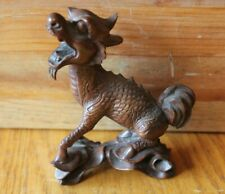 Wooden Longma statue Half Dragon Horse hand carved rose wood Vintage Asian Art