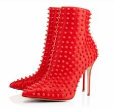 Ankle Boots Stilettos Heels Women's Rivets Shoes Pointy Toe Elegant Clubwear New