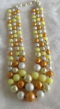 3 Strand gold White Silver Clear iridescent Beads Graduated  Necklace Japan