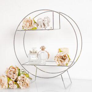 Silver Round Mirrored Shelf Multi Unit Metal Shelves Living Hallway Home Decor