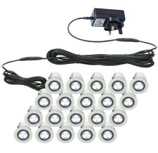 SET OF 20 - 30mm IP67 ROUND COOL WHITE LED DECKING / GROUND / PLINTH LIGHT KIT