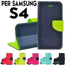 Custodia per Samsung galaxy S4 copertina cover tpu, portafoglio libro magnetica