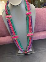 """Vintage Bohemian Wood Beaded Long Necklace With Brass Metal Beads 30"""""""