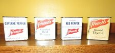 Lot of Vintage French's Spices 4 Metal Tins Rochester NY Peppers and Thyme