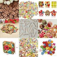 KE_ 100x Star Heart Flower 2 Holes Wood Sewing Craft Scrapbooking DIY Buttons