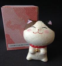 Japanese Washi Paper Maneki Neko Lucky Cat Figurine Hand Painted Made in Japan