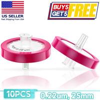 10pcs/pack PVDF Syringe Filter OD=25mm 0.22um Pore Size Non Sterile Hydrophobic