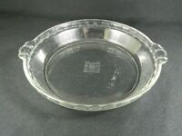 "Vintage Pyrex Pie Plate Clear 9.5"" Fluted Edge Handles 229"