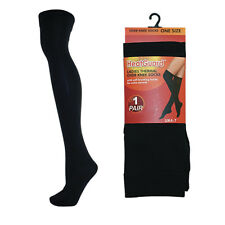 HEATGUARD BLACK WARM WINTER CASUAL LADIES OVER KNEE THERMAL SOCKS ONE SIZE SK191