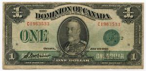 CANADA 1923 KING GEORGE V DOMINION OF CANADA 1 DOLLAR BANKNOTE CRISP VF.PICK#33d