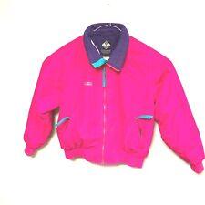 VTG 90S COLUMBIA Woman Size XL Pink Fleece Lined Nylon Ski Coat Jacket