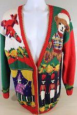 Marisa Christina Hand Knit Christmas Toy Theme Ugly Sweater Size M Medium