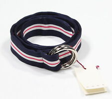 "NWT! * RODA * Navy Blue/Pink/White Striped Silk Ribbon Ring Belt M 32"" Waist"