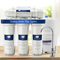5 Stage Reverse Osmosis Drinking Water Filter System W/Faucet+Tank NSF Certified