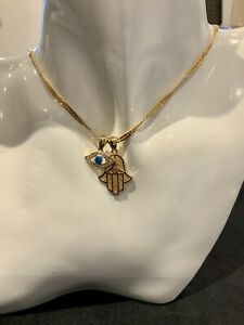 22K 22Ct Gold Filled Chain Necklace With Lucky Hamsa Hand & Evil Eye