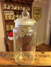 Vintage Tall & Large Glass Ravenhead Kitchen Storage Jar – Ground Stopper –