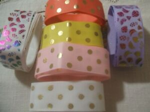 BULK BUY... GROSGRAIN RIBBONS IN PRETTY COLOURS/GOLD DOTS. ALL NEW. BUY UP BIG