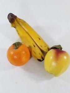 3 Ceramic Faux Fruit Fake Prop Staging Apple Banana Orange Display Decor Vintage