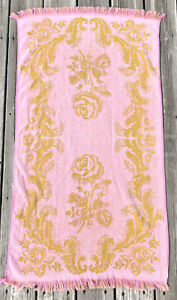 Vtg MCM 60s Grants Fashion for the Home Gorgeous Hand Towel Pink Gold Roses Rare