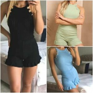 Women's Gold Button Vest Top Frill Shorts Set Ladies Two Piece Co ord Loungewear