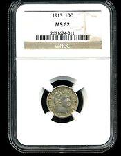 1913 10C Barber Dime MS62 NGC