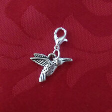 Bracelet charms, lobster clasp, double sided hummingbird, tibetan, silver plated