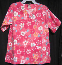 Medium UA Scrubs Scrub Top Pink with White and Turquoise Flowers