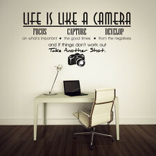LIFE IS LIKE A CAMERA Photography Vinyl Lettering Words Wall Sticker Decals