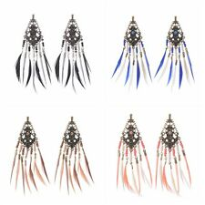 Bohemian Boho Multi Design Feathers Tassel Fashion Women Dangle Hook Earrings