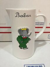 """Vintage Babar The King White Ceramic Pitcher ~8.5"""" Tall - Nice Clean - Elephant"""