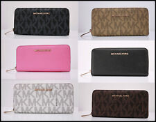 NEW Michael Kors MK Jet Set Continental Zip-Around Leather Wallet Free Shipping