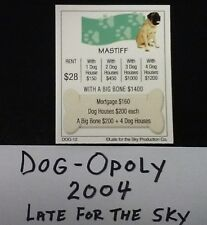 Dog Monopoly 2004 Mastiff Tile Deed Card Replacement Card Free Shipping