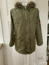 FANTASTIC MINI BODEN KHAKI GREEN WARM WINTER COAT / PARKA AGE 11-12 HARDLY WORN