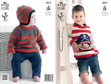 King Cole Boys Double Knitting DK Pattern Striped Pirate Sweater Jumper Hat 3917