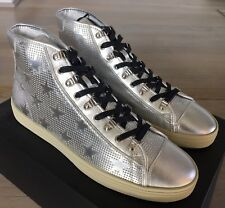 700$ Saint Laurent Silver Leather High Tops Sneakers size US 13, Made in Italy