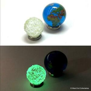 Earth and Glow in the Dark Moon Glass Marbles - Planet Globe World Marble