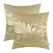 2pcs Gold Cushion Covers Pillow Shell Tropical Fern Leaf Home Sofa Decor 45x45cm