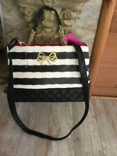 NWT Betsey Johnson Black & white Stripes leather Tote Handbag Shoulder Bag