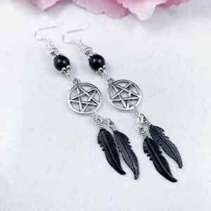 Black Pentagram Earrings, Beaded Pentacle Feathers Wicca Pagan Witchy Jewellery