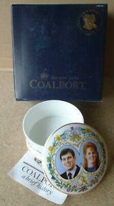 1986 Royal Wedding Prince Andrew Coalport China lidded trinket box w/box