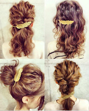 Vintage Girls Women Gold Leaf Feather Hair Barrette Clip Hairpin Bobby Pins NEW