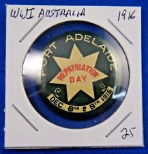Original Vtg Wwi Ww1 Australia Port Adelaide Repatriation Day 1916 Pin Button