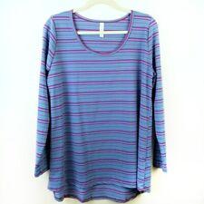 Lularoe Lynnae Tee Shirt Size XL Long Sleeve Striped Purple & Turquoise