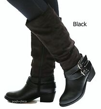 New Women SSay Black Brown Stone Buckle Riding Knee High Boots size 5.5 to 11
