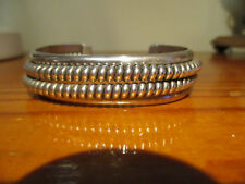 Sterling Silver cuff double row rope style bracelet flexible middle