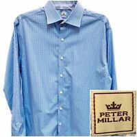 Peter Millar Nanoluxe Easycare Mens LS Dress Shirt Blue Button Down Sz 16 Long