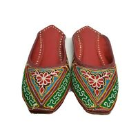 Handmade Moroccan slippers red leather with multi-color embroidery backless