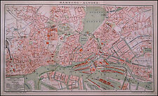 1893.Orig.Geographical Map.HAMBURG-ALTONA - AMBURGO.GERMANIA.Brockhaus CM 42X25